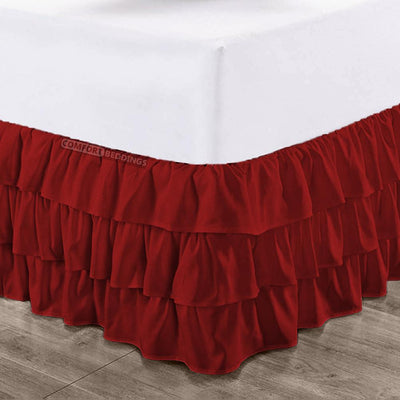 100% Egyptian Cotton Burgundy Multi Ruffled Bed Skirt
