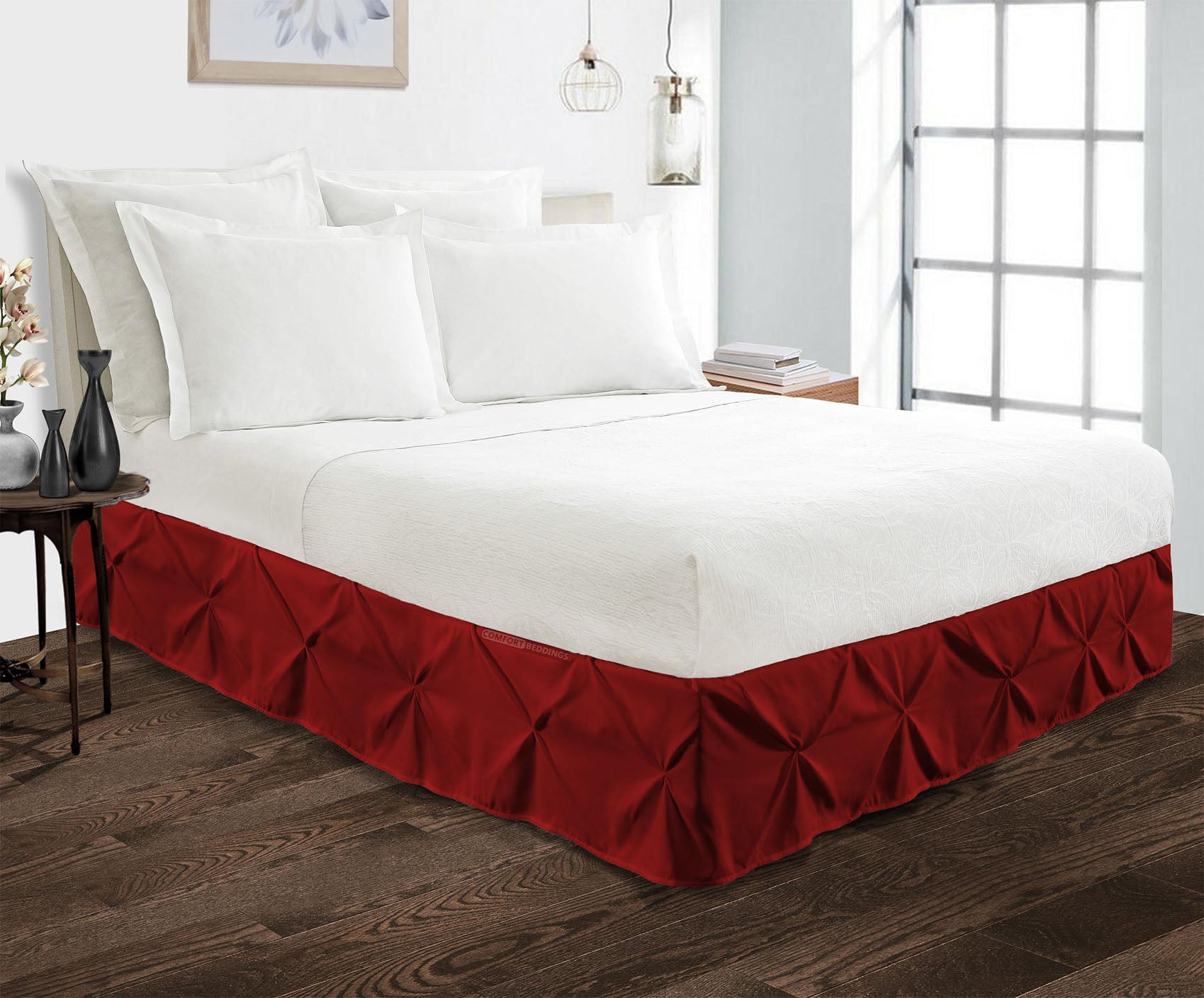 600TC burgundy pinch pleated bed skirt