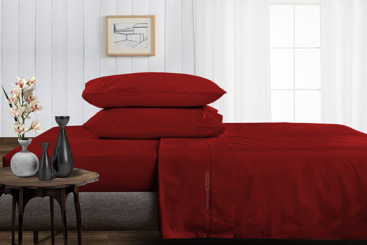 1000 Thread Count Burgundy Split Bed Sheets Set