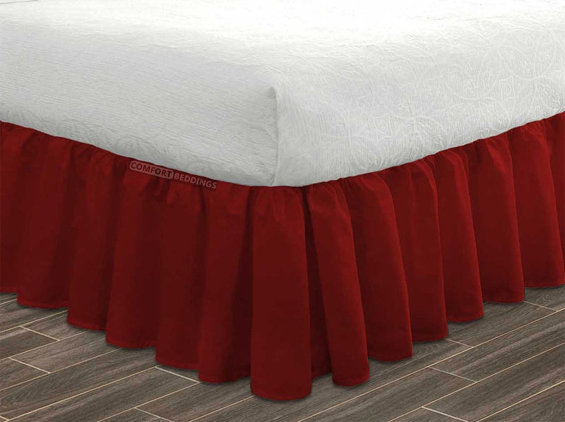 100% Egyptian Cotton Burgundy Ruffled Bed Skirt