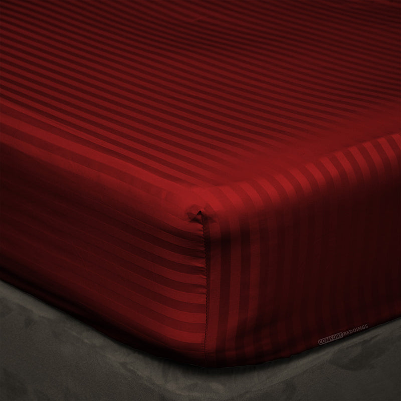 100% Egyptian Cotton Burgundy Stripe Fitted Sheets