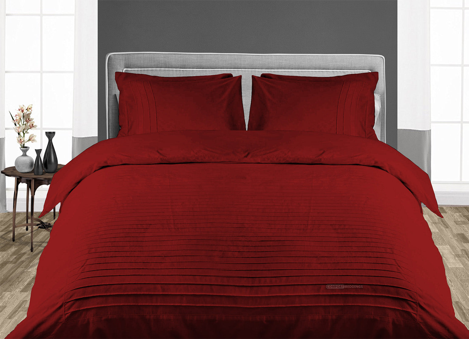 Elegant Burgundy Moroccan Streak Duvet Cover And Pillowcases