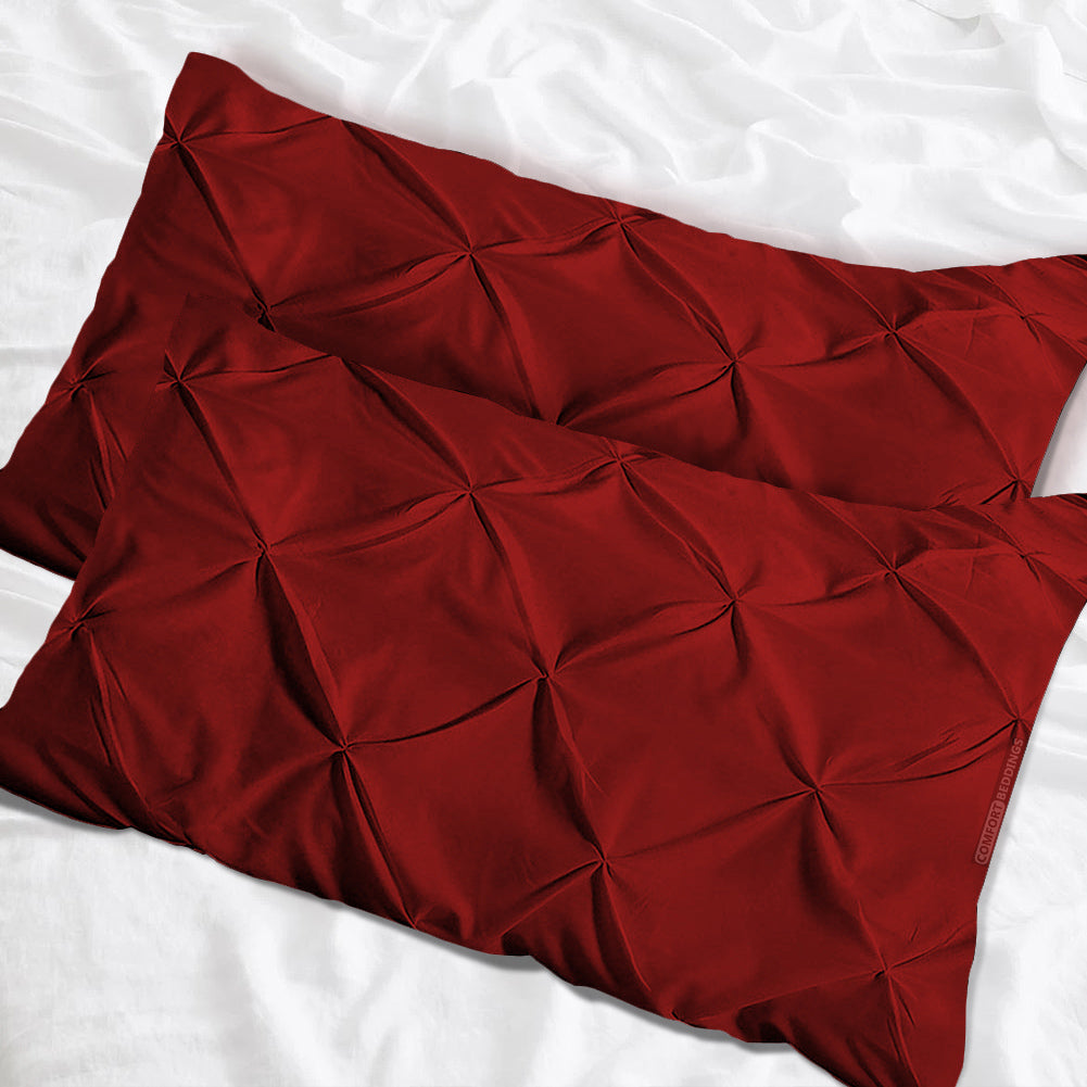 Top quality burgundy pinch pillow cases