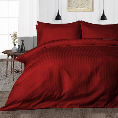 600TC Burgundy Striped Duvet Cover Set