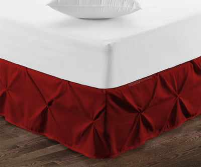 1000TC burgundy pinch pleated bed skirt