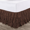 Top Quality Chocolate Multi Ruffled Bed Skirt
