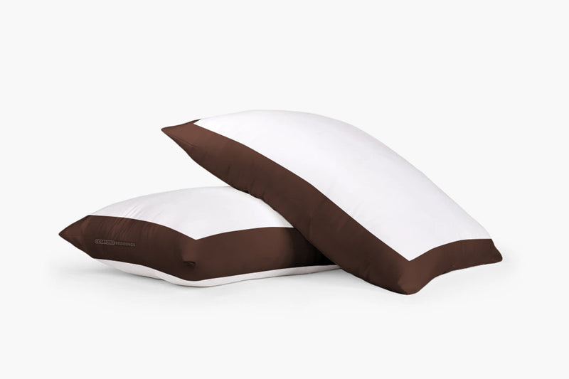 Luxury chocolate - white two tone pillow cases