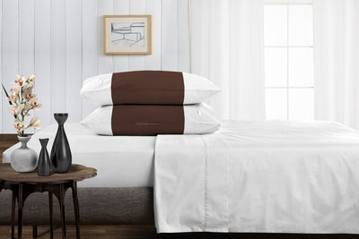 Luxury chocolate - white contrast pillowcases