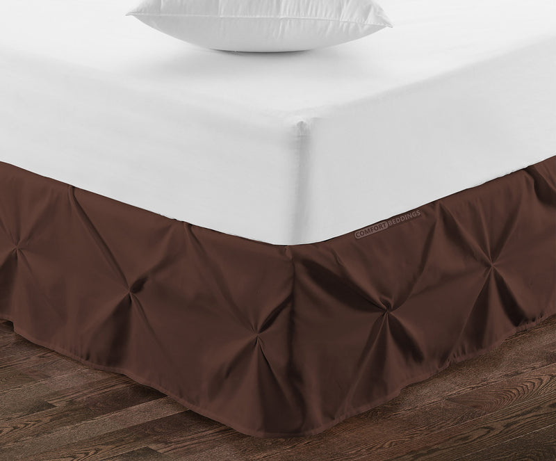 Elegant chocolate pinch pleated bed skirt