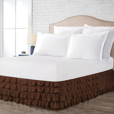 Egyptian cotton made chocolate waterfall ruffled bed skirt