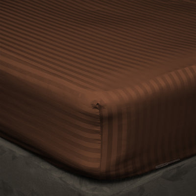 Egyptian Cotton Chocolate stripe Fitted Sheets