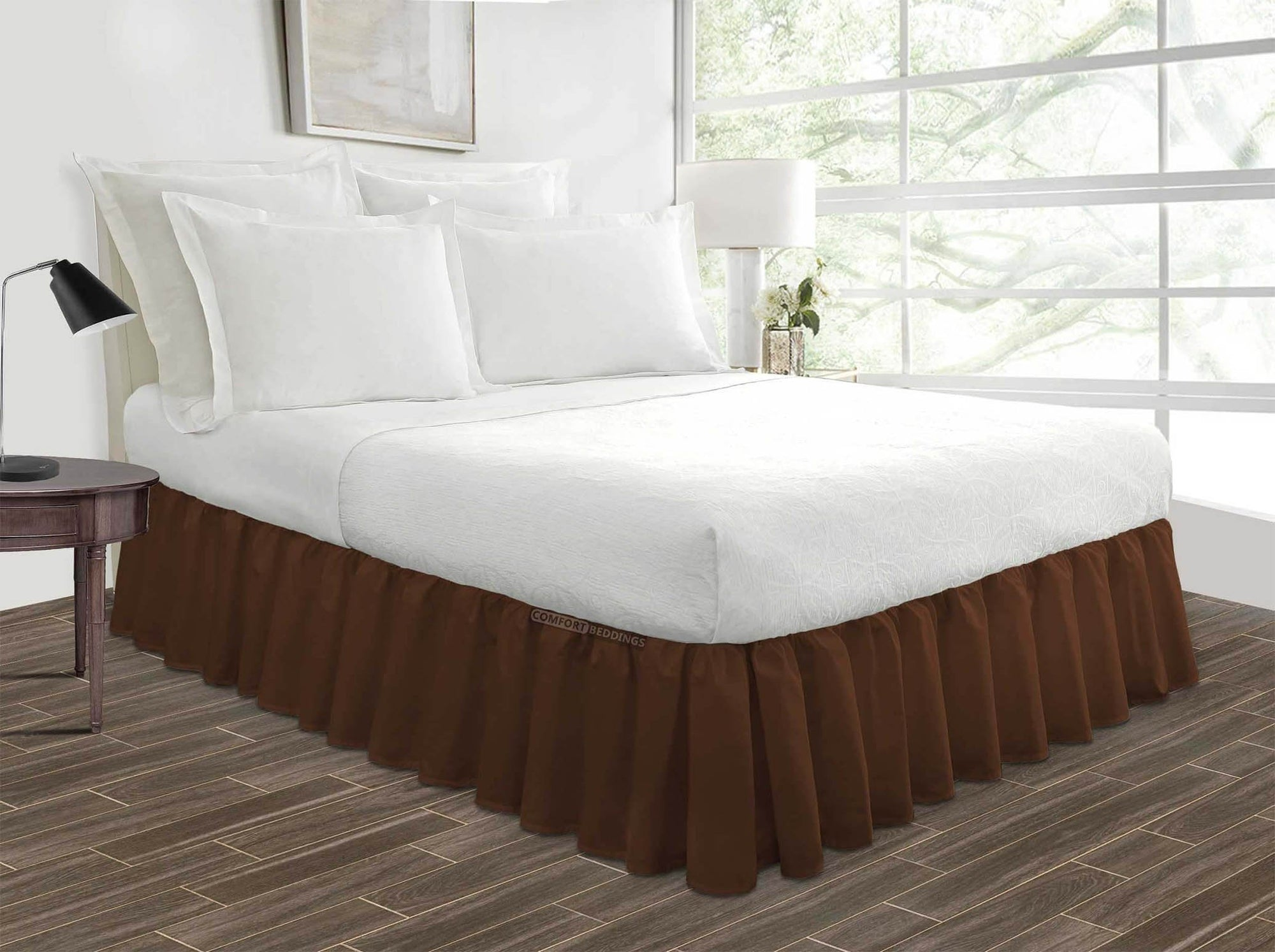 1000 TC chocolate ruffled bed skirt