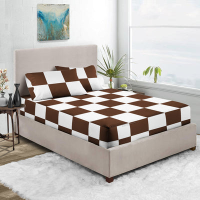 Luxury Chocolate - White Chex Fitted Sheet