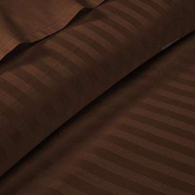Classy Chocolate Striped 600TC Duvet Cover Set