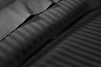 600 Thread count Dark Grey Stripe Flat Sheet