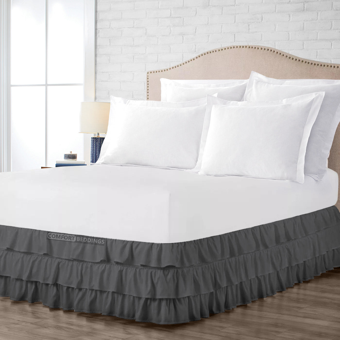 1000 Thread Count Dark Grey Multi Ruffled Bed Skirt