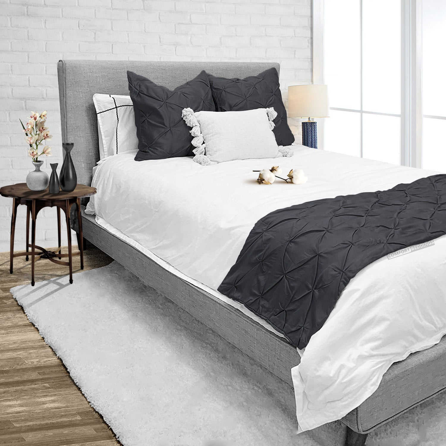 Top Rated Dark gray pinch bed runner set