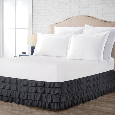 600TC dark grey waterfall ruffled bed skirt