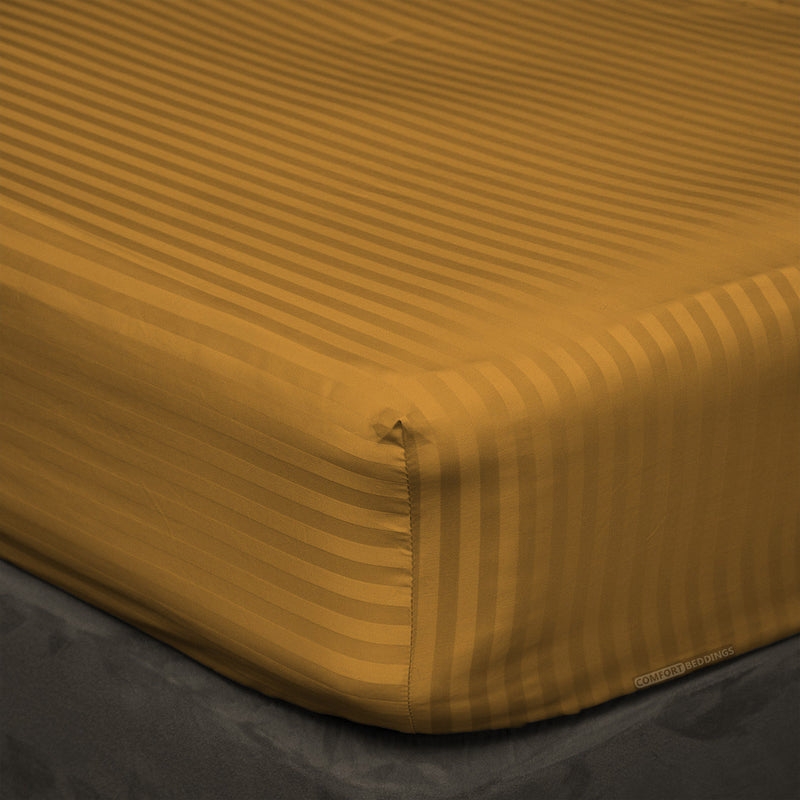 600 TC Striped Dark golden Fitted Sheets