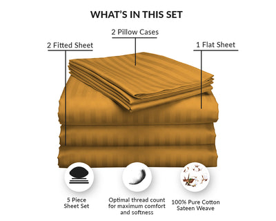 100% Egyptian Cotton Dark golden Stripe Split Sheet Set