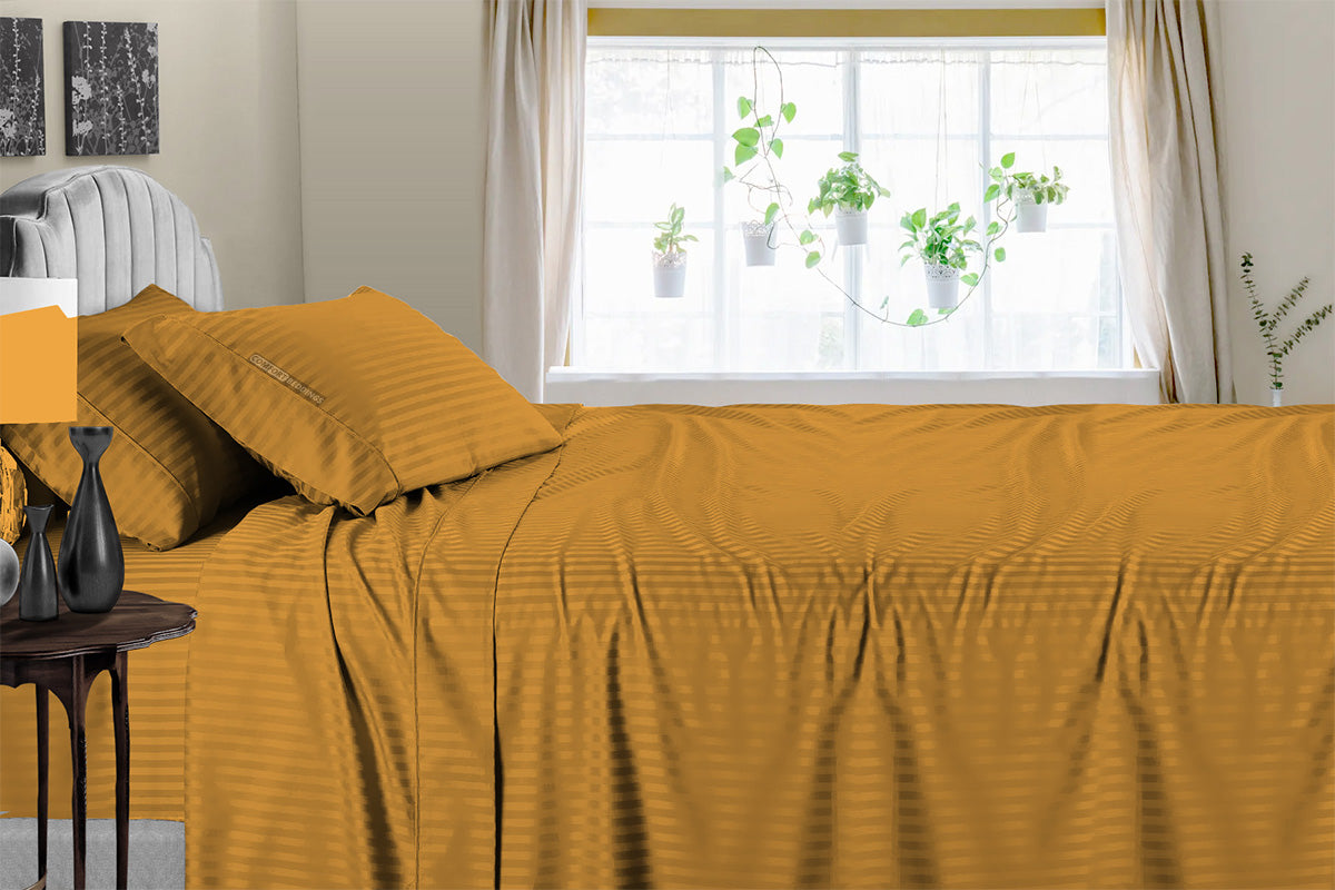 Premium Dark Golden Striped Sheet Set