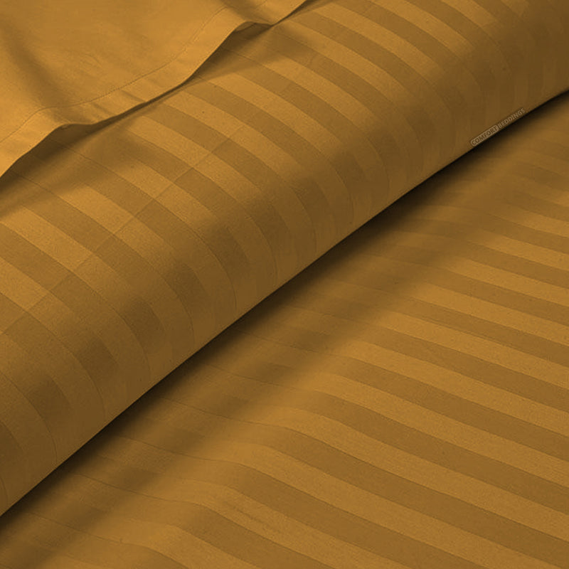 Dark Golden Striped Duvet Cover - 600TC