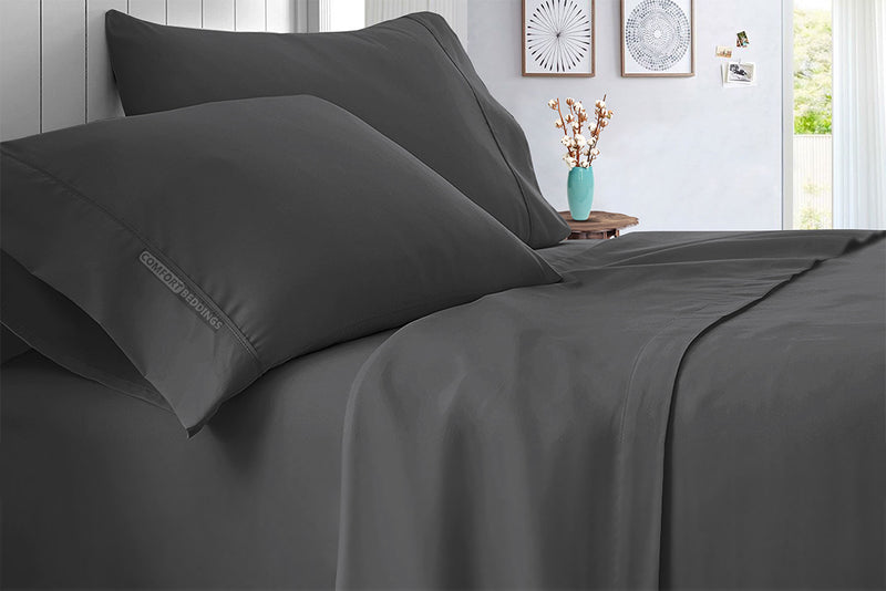 100% Egyptian Cotton Dark Grey Sheet Set