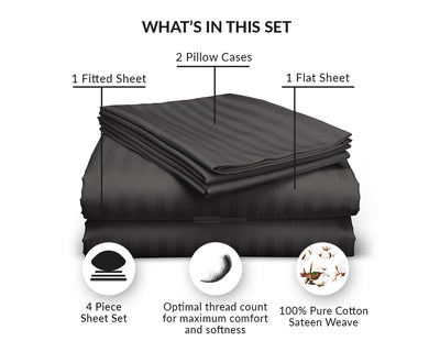 Luxurious Dark Gray Striped RV Sheet Set