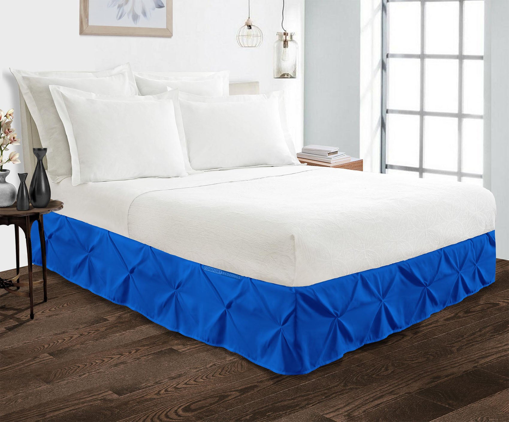 Essential Royal Blue Pinch Pleated bed skirt