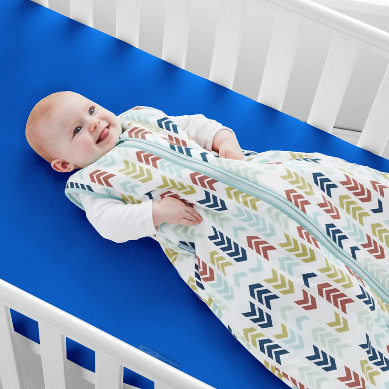 Egyptian Cotton Royal blue Fitted Crib Sheets - 600TC