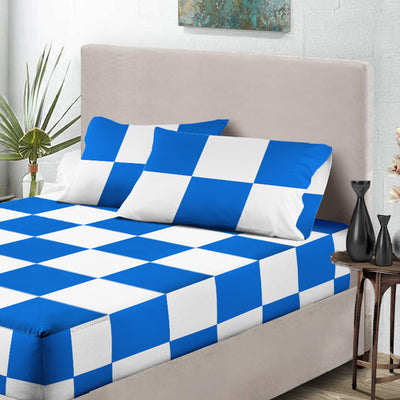 Royal blue - White Chex Fitted Sheets