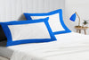 Luxurious Royal blue - white two tone pillow cases
