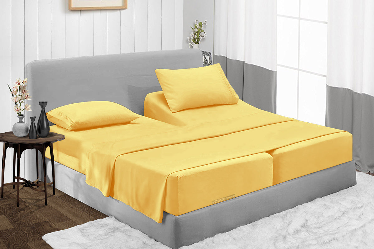 600TC Golden Split Bed Sheets Set