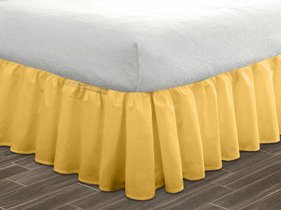 100% Egyptian Cotton Golden Ruffled Bed Skirt