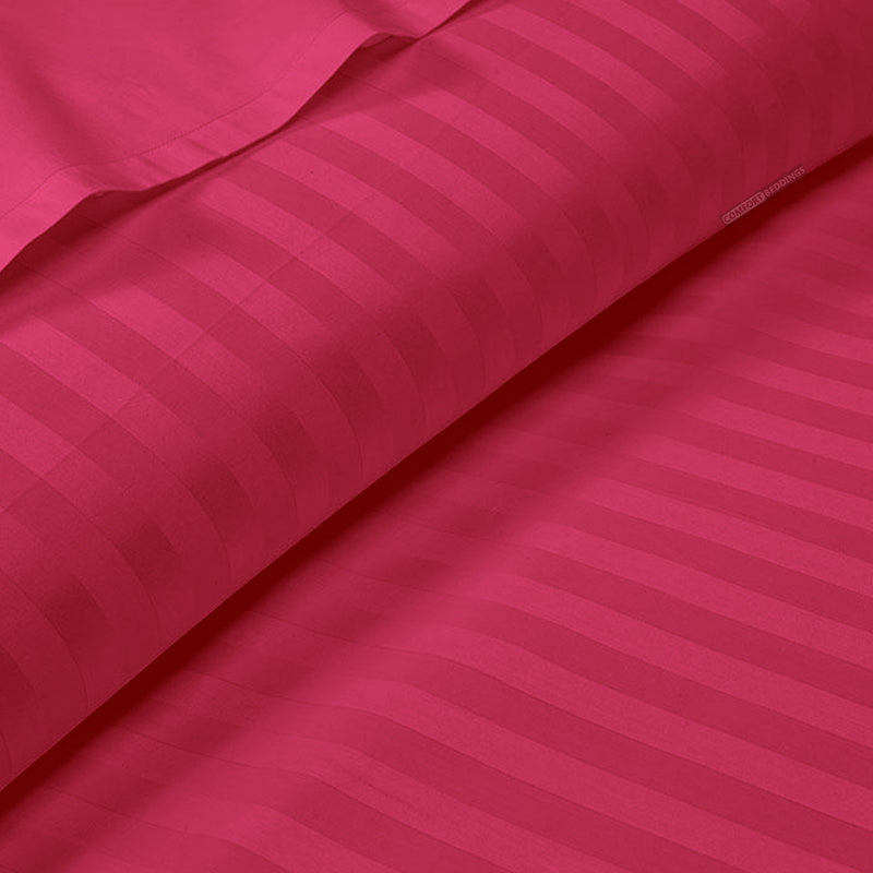 600TC Hot pink Striped Duvet Cover Set