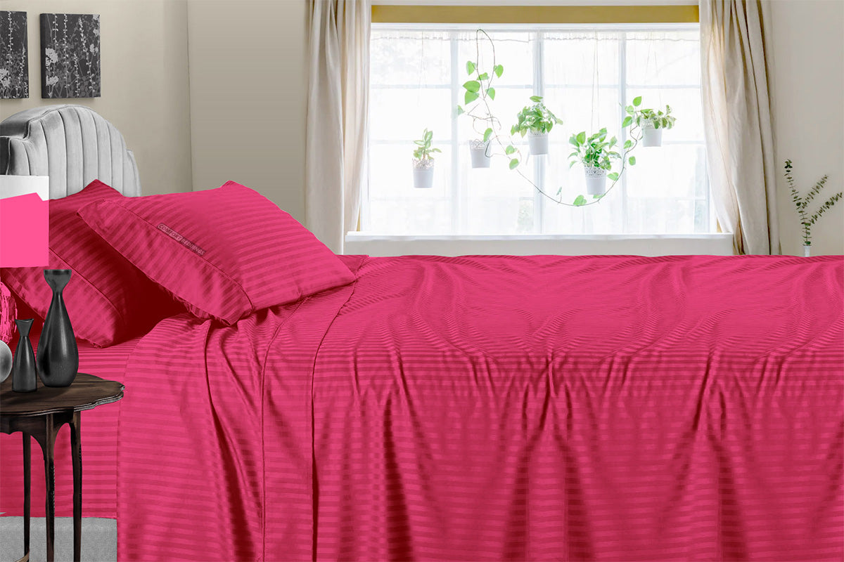 Best Hot Pink Stripe 600 TC Sheet Set