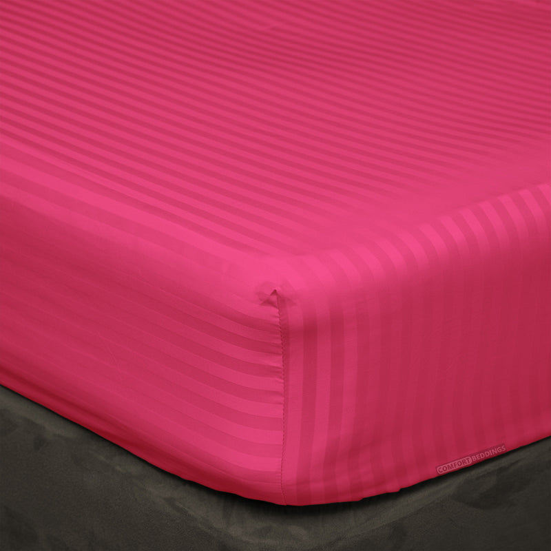 Hot pink Striped Fitted Sheets - 100% Egyptian Cotton