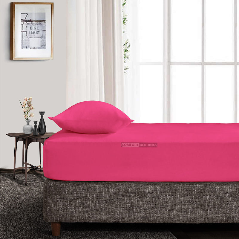 100% Egyptian Cotton Hot Pink Fitted Sheet
