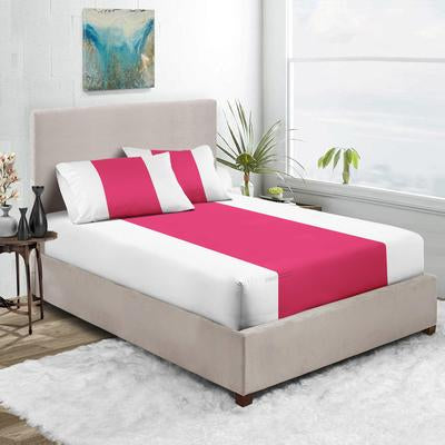600 TC Hot pink - White Contrast Fitted Sheets