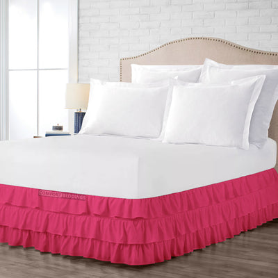Most Selling Hot Pink Multi Ruffled Bed Skirt