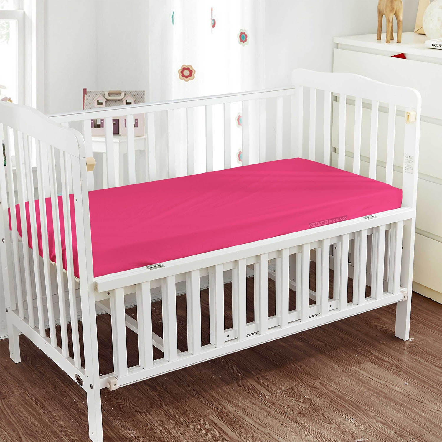600TC Hot pink Fitted Crib Sheets