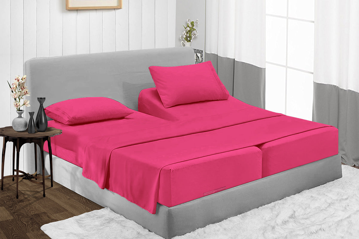 600TC Egyptian Cotton Hot pink Split Sheet