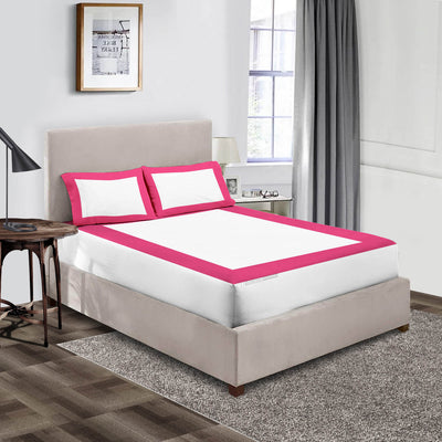 Luxury Hot pink - White two tone fitted sheets