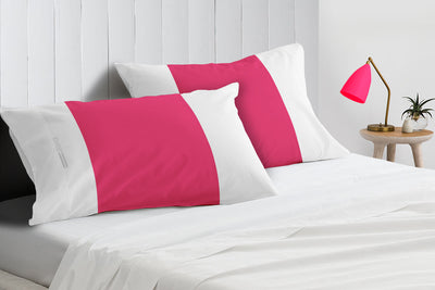 Luxury 600 TC hot pink - white contrast pillowcases
