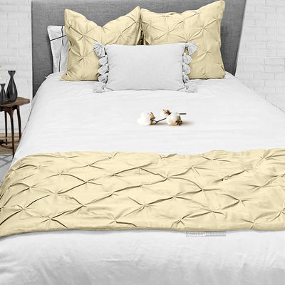 Luxury Ivory Pinch Bed Runner
