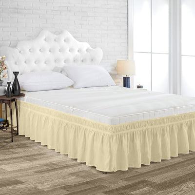 Top Quality Ivory Wrap Around Bed skirt