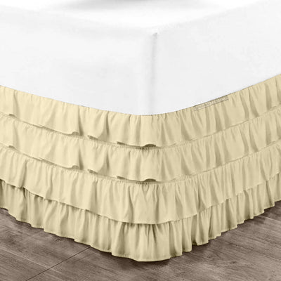 Elegant Ivory waterfall ruffled bed skirt