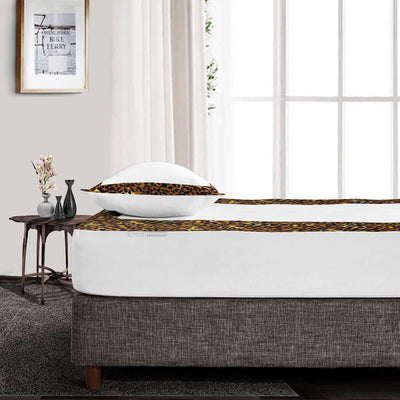 Leopard Print with White two tone fitted sheets