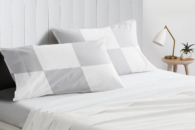 1000 TC Light Grey - white chex pillowcases