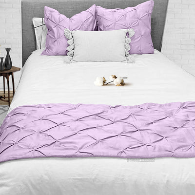 100% Egyptian Cotton Lilac Pinch Bed Runner